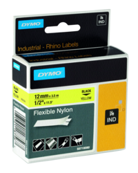 Accesorios para rotuladoras: Dymo Rhino cinta nylon negro sobre amarillo 12mm x 3