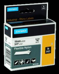 Accesorios para rotuladoras: Dymo Rhino cinta nylon negro sobre blanco 19mm x 3
