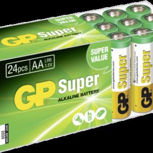 Pilas: 1x24 GP Super Alkaline Mignon AA LR 06 PET Box       03015AB24