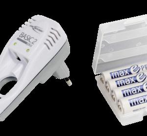 Cargadores de baterías -universales-: Ansmann Basic 2plus Cargador + 4 pilas maxE NiMh AA 1900mAh