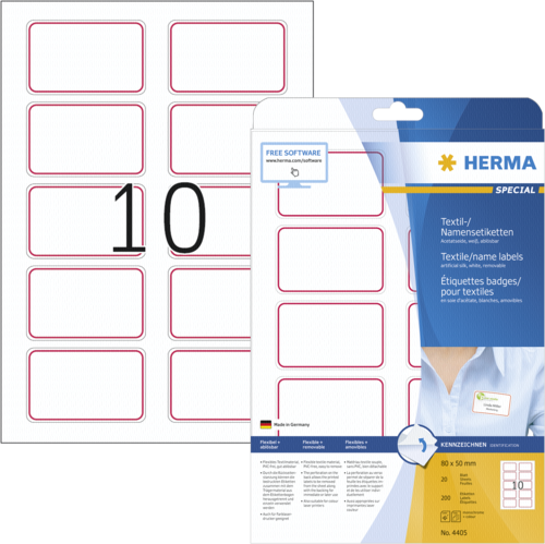Etiquetas: Herma Textile/Name Labels  80x50 20 sheets A4 wh/red 200 pc. 4405