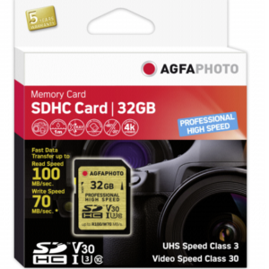 Tarjetas SD: AgfaPhoto SDHC UHS I U3     32GB Profesional High Speed