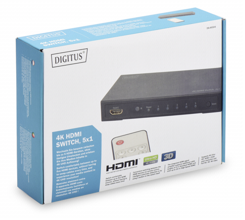 Cables & adaptadores -TV / vídeo-: DIGITUS 4K HDMI Switch 5x1